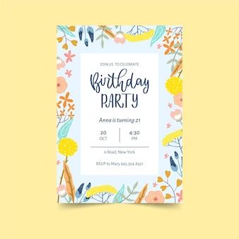 色とりどりの花の誕生日の招待状のテンプレート
