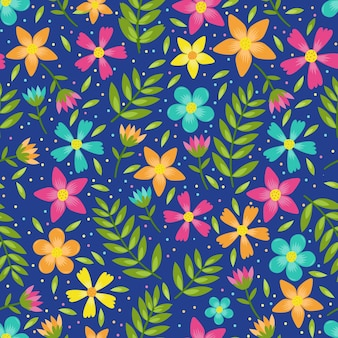 Colourful flowers and leaves floral seamless pattern