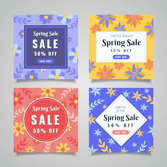 Colourful flowers and leaves spring sale instagram post collection