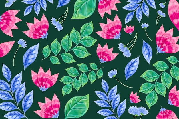 Colourful flowers and tropic leaves pattern