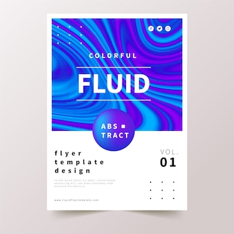 Colourful fluid effect poster in blue and violet tones