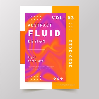 Colourful fluid effect poster in gradient orange and violet