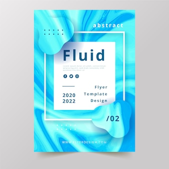 Colourful fluid effect poster in light liquid blue tones