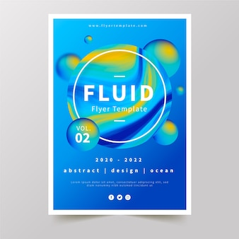 Colourful fluid effect poster with water drops