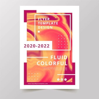 Colourful fluid and memphis effect flyer