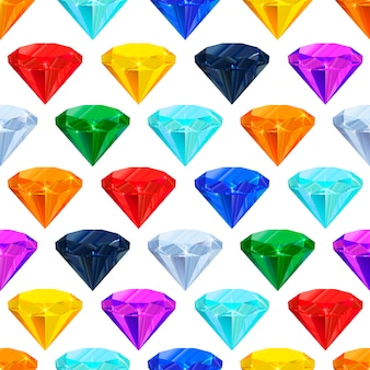Colourful gemstones seamless pattern