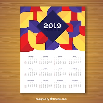 Calendario geometrico colorato per il 2019