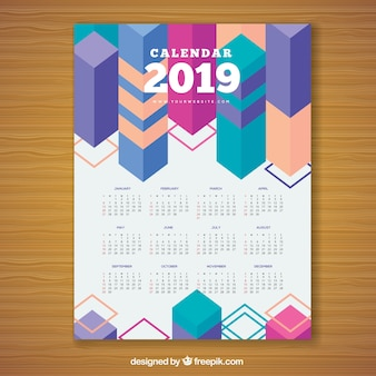 Colourful geometric calendar for 2019