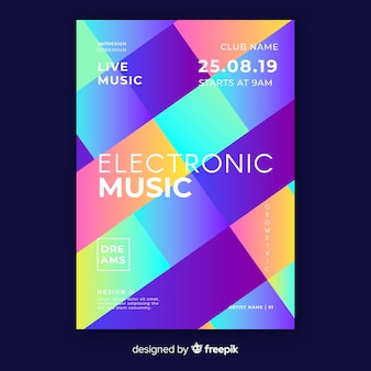 Colourful geometric music poster template