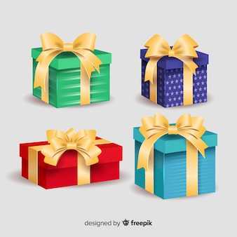 Colourful gift boxes with ribbon