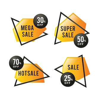 Colourful golden sale banners with frames