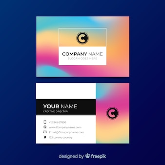 Colourful gradient business card template