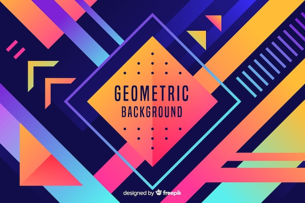 Colourful gradient geometric shapes background