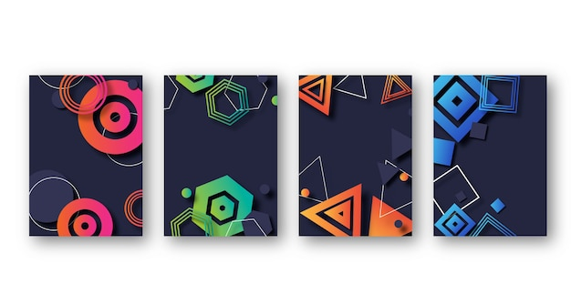Colourful gradient geometric shapes covers
