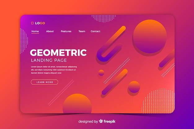 Colourful gradient geometric shapes landing page template