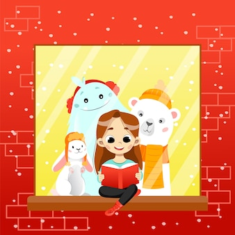Colourful gradient illustration in cartoon flat style. vector composition with smiling characters looking in book. happy girl character reading fairy tale sitting on windowsill with fantasy creatures.