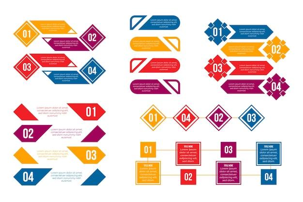Colourful gradient infographic element set