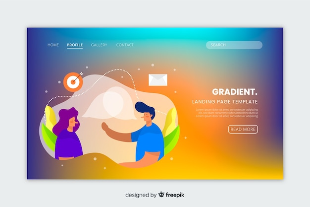 Colourful gradient landing page with illustrations template