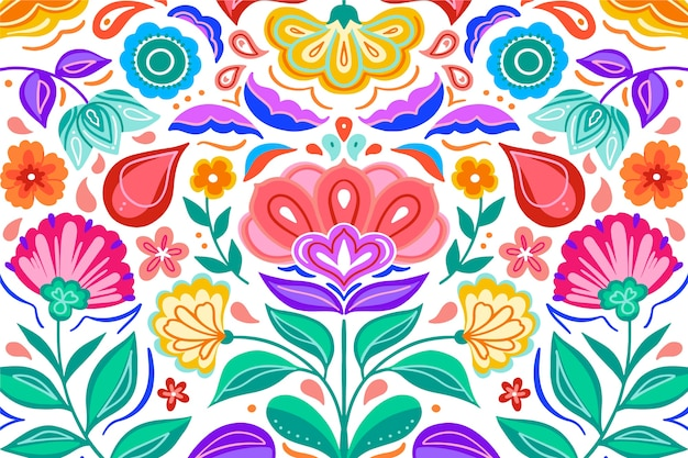 Colourful gradient mexican flowers background
