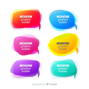 Colourful gradient speech bubble collection