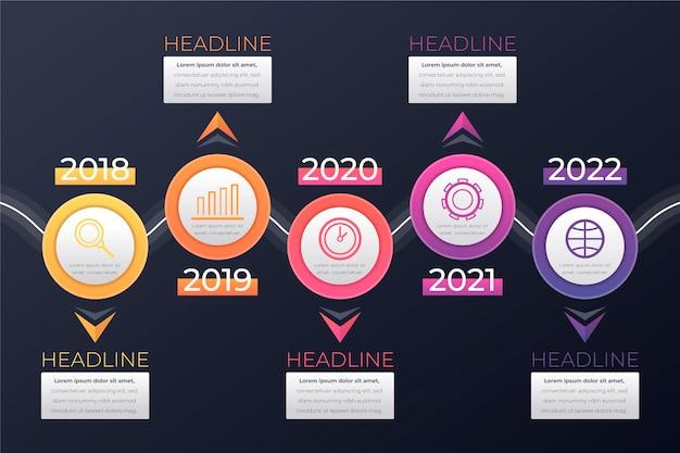 Infografica timeline gradiente colorato