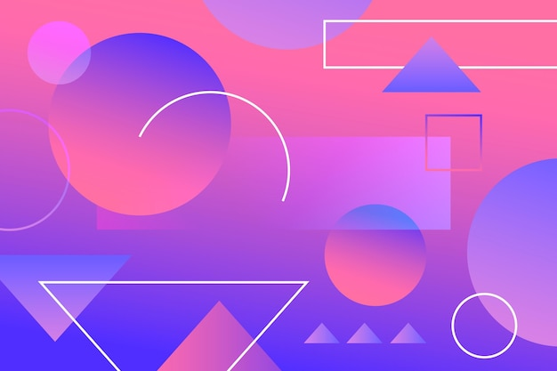 Colourful gradient wallpaper with geometrical shapes