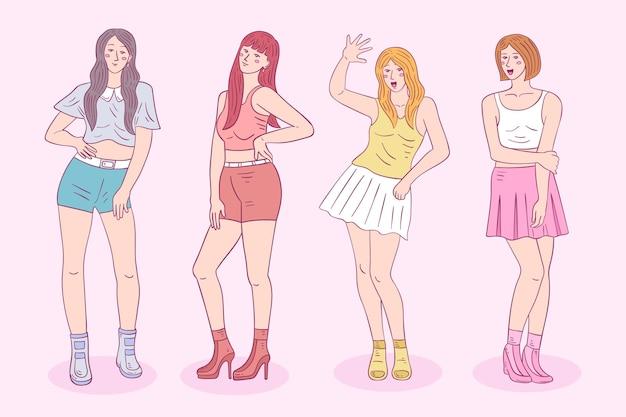 Kポップの女の子のカラフルなグループ