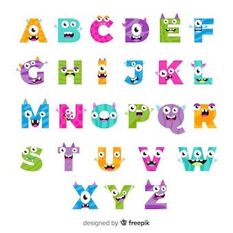 Colourful halloween monster alphabet