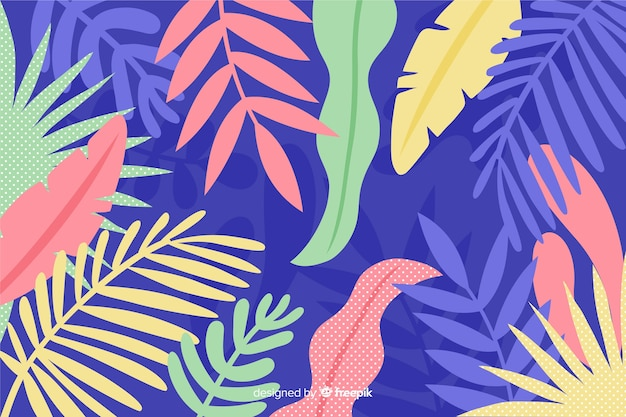Colourful hand drawn abstract leaves background