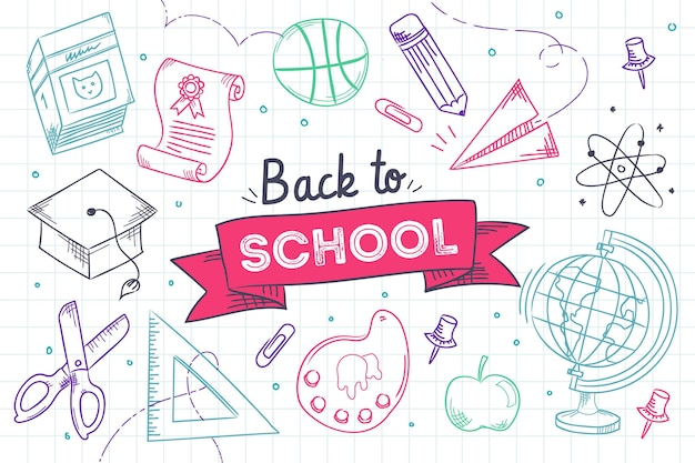 Colourful hand drawn back to school background