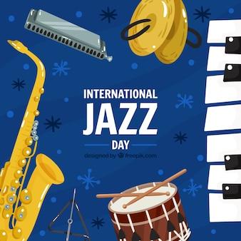 国際的なジャズの日のためのカラフルな手描きの背景