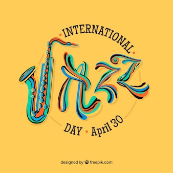 Colourful hand drawn background for the international jazz day