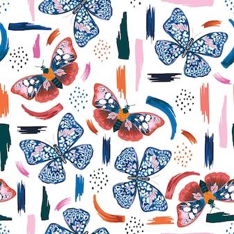 예술적 브러시 스트로크 원활한 패턴 벡터 eps10, 패션, 직물, 섬유, 벽지, 커버, 웹, 포장 및 모든 흰색 인쇄를 위한 디자인으로 다채로운 손으로 그린 나비