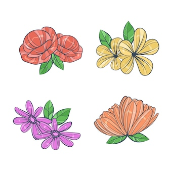 Colourful hand drawn flowers collection