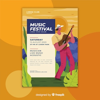 Colourful hand drawn music festival poster template