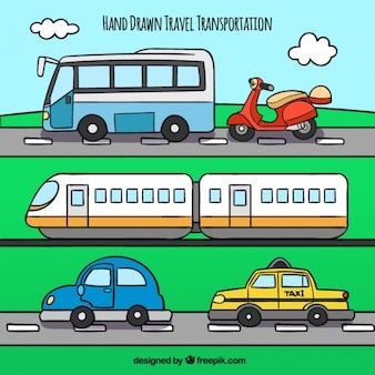 Colourful hand drawn travel transportation