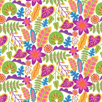 Colourful hand painted exotic floral pattern