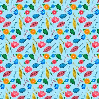 カラフルな手描きのエキゾチックな花と葉のパターン