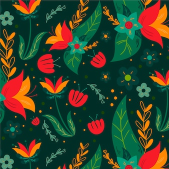 Colourful hand painted exotic flowers and leaves pattern