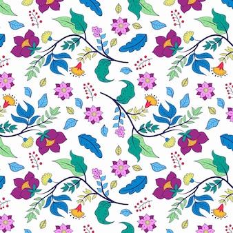 白い背景にカラフルな手描きの花柄