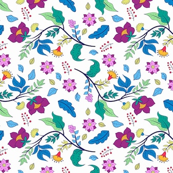 Colourful hand painted floral pattern on white background