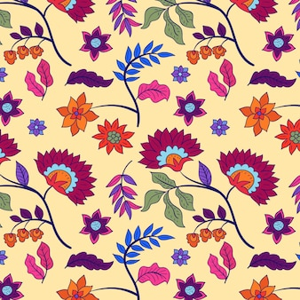 Colourful hand painted floral pattern