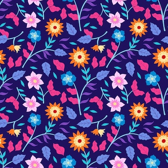 Colourful hand painted tropical floral pattern