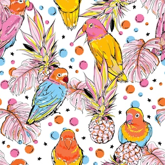 Colourful hand sketch bird with summer fruits pineapples and tropical leaves seamless pattern
