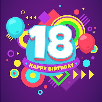 Colourful happy 18th birthday background