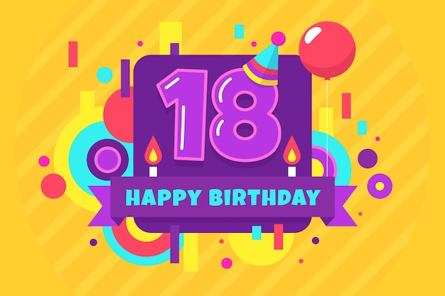 Colourful happy 18th birthday wallpaper
