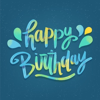 Colourful happy birthday lettering