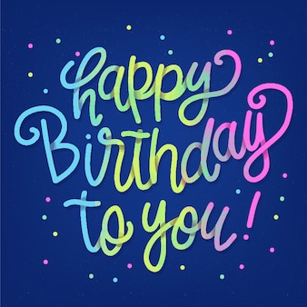 Colourful happy birthday to you lettering