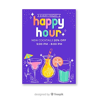 Colourful happy hour cocktails poster