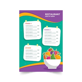 Colourful healthy food illustrated restaurant menu